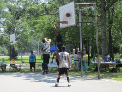 members of 3rd EyE playing basketball at Buttonwood Park