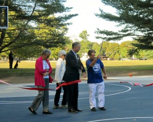 ribbon-cutting of new basketball courts at Buttonwood Park