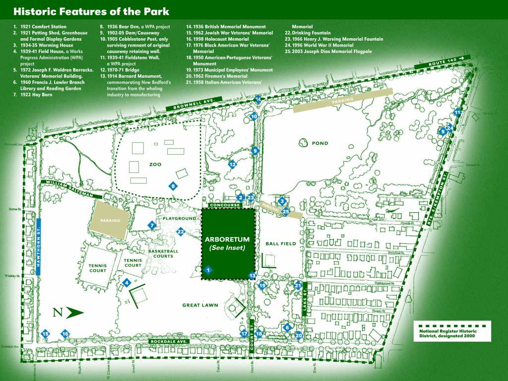 map of Buttonwood Park in New Bedford